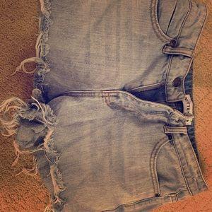 Kittenish- High Rise Jean Shorts Cutoffs
